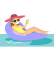 caucasian white woman relaxing in swimming pool vector image vector image
