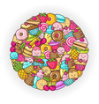 circle from the funny sweets fruit and ice cream vector image vector image