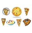Colorful cartoon pizza characters and icons vector image