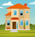 colorful cottage flat residential houses vector image vector image