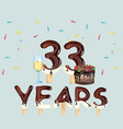 colorful greeting card 33 years vector image vector image