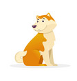 cute dog rounds its tail sitting flat vector image vector image