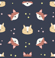 cute woodland seamless pattern with foxes vector image vector image