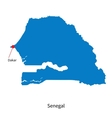 Detailed map of Senegal and capital city Dakar vector image vector image