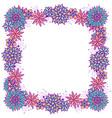 doodle square floral frame for girls vector image vector image