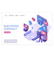 electronic contract isometric landing page vector image