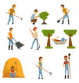farmers set farm workers with gardening tools vector image vector image