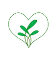 Fresh Green Leaves in A Heart Frame vector image vector image