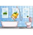 Girl taking bath in the bathroom vector image vector image