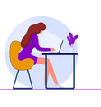 girl with a laptop sitting on a chair vector image vector image