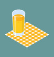 glass of juice on napkin vector image
