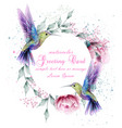 greeting card with watercolor humming bird frame vector image