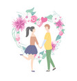 happy couple and heart with flowers love vector image
