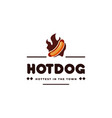 hotdog and fire vintage emblem hipster logo vector image vector image