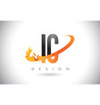 ic i c letter logo with fire flames design and vector image