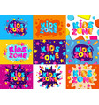 kids zone colorful banner card set cartoon letter vector image vector image