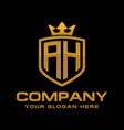 letter ah initial logo luxury logo design vector image vector image