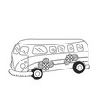 line retro hippie bus transportation with flowers vector image vector image