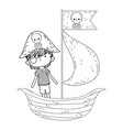 little pirate in boat fairytale character vector image vector image