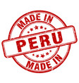 made in peru red grunge round stamp vector image vector image