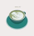 matcha latte latte hot drink with latte art vector image vector image