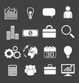 monochrome business icons set vector image