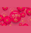mothers day greeting card or red flower in gold vector image