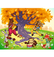 Musician animals in a natural landscape vector image vector image