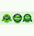 natural organic healthy food green labels design vector image