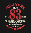 new york vintage graphic for number t-shirt vector image vector image