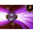 Pink disco ball with headphone and speaker vector image vector image