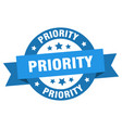priority ribbon priority round blue sign priority vector image vector image