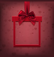 Red square banner in form of gift with ribbon an vector image