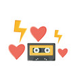 retro music cassette with hearts love vector image