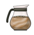 rounded glass jar of coffee with handle colored vector image vector image