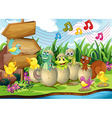 Scene with animals in the shells vector image vector image