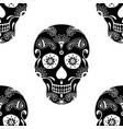 seamless pattern of black sugar skull vector image vector image