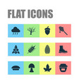 season icons set with jam maple wheat and other vector image