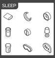 sleep outline isometric icons vector image vector image