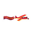 small flying airplane with red banner advertising vector image vector image