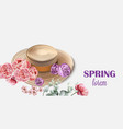 spring hat with flowers seasonal card vector image vector image