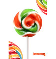 swirl candy lollipop 3d realistic icon vector image vector image