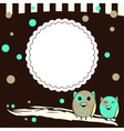 Template for postcard with two owls and brown vector image vector image