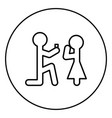the man makes an offer woman stick icon in circle vector image