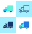 truck icon set in flat and line style vector image vector image