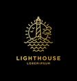 vintage lighthouse beacon on coastal beach logo vector image vector image