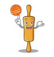 with basketball rolling pin character cartoon vector image vector image