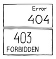 404 and 403 connection error vector image
