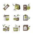 Organic food flat color icons vector image