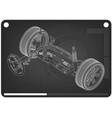 3d model of steering column and car suspension vector image vector image